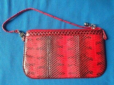 100% Echte rot schwarz See Schlangenhaut Leder Klein Handtasche Portemonnaie