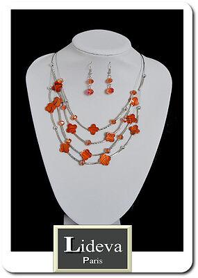 Set Kette Ohrringe Halskette Schmuckset Paris Perlmutt//Glas Blumen Leo Orange
