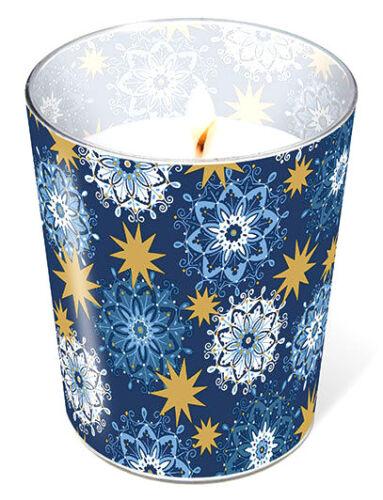 *Weihnachten*Glaskerze*Blau/&gold Sterne*Filigree stars*