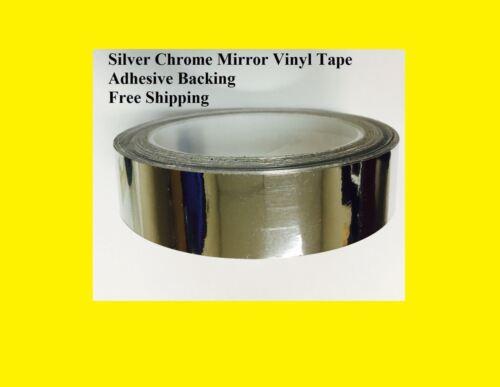 "Silver Chrome Mirror Vinyl Tape 1/"" wide x 50 Feet Adhesive Backing Car auto ok"