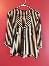 Women's Forever 21 Black & White Striped Blouse, Size Large