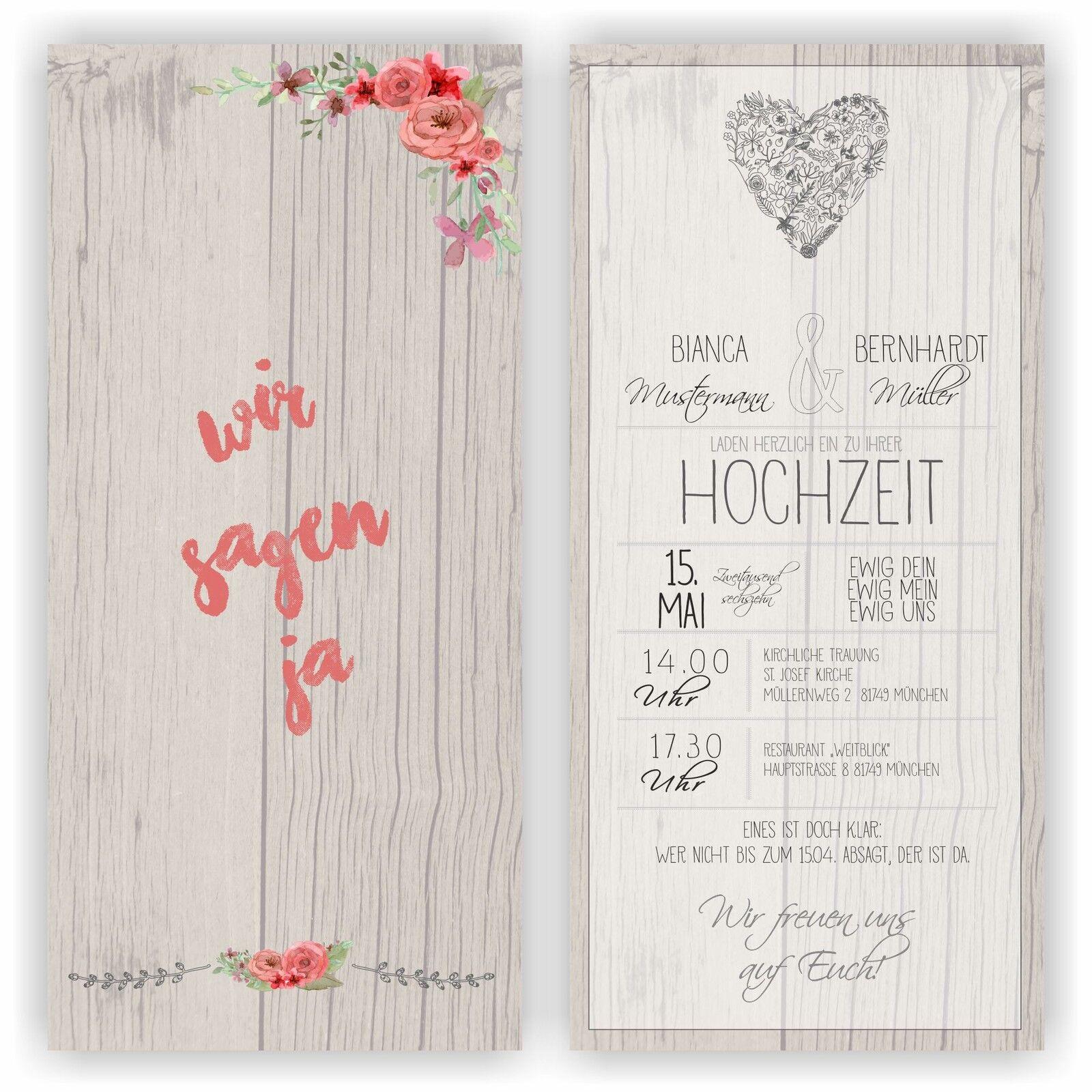 Einladung zur Hochzeit Einladungskarte Hochzeitseinladung Wedding HO21