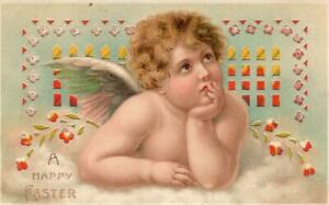Beautiful-Hold-to-Light-HTL-Children-Cherub-Angel-1910-Easter-Postcard-k286