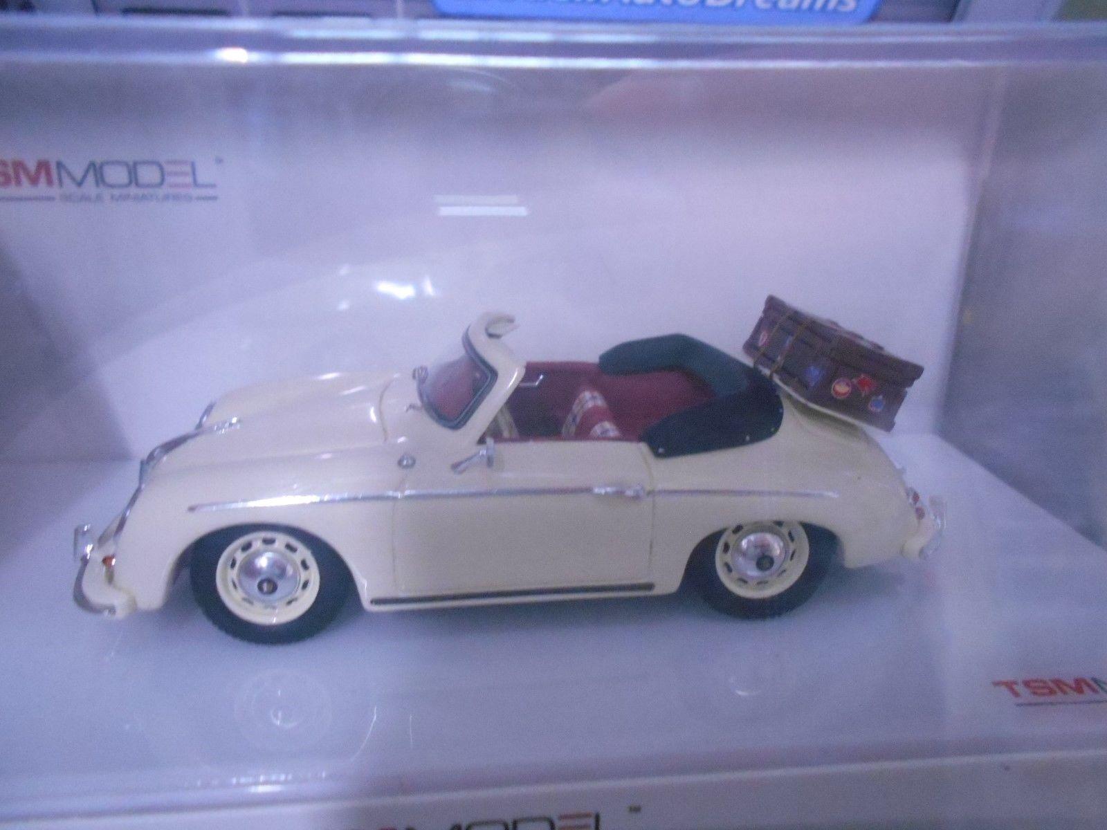 Porsche 356 Convertible Cabriolet A Cream Ivory with Suitcase  Resin TSM 1 43  design simple et généreux