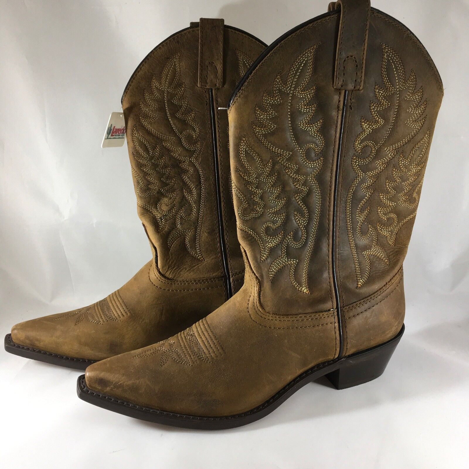 Laredo Women's Providence Crazy Horse Brown Leather Cowboy Boots 7M
