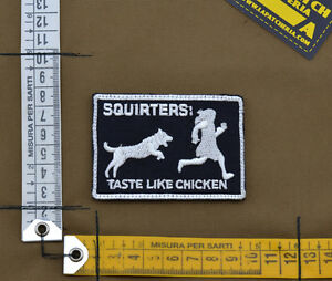 Ricamata-Embroidered-Patch-034-Squirters-Taste-034-Black-with-VELCRO-brand-hook