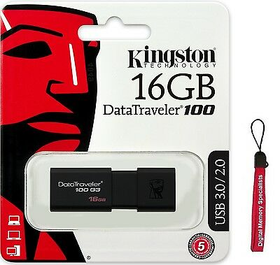Kingston 16GB DataTraveler 100 G3 16G USB 3.0 Flash Pen Drive DT100G3/16GB +Lany