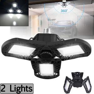 Deformable Tri-Fold Lamp LED Adjustable Three Light Garage High Bay Light 60W US