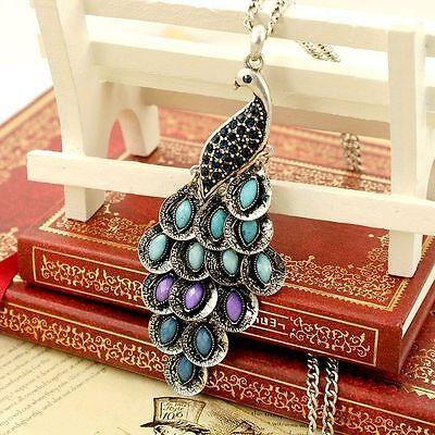 Vintage Art Deco style peacock necklace multiple colours