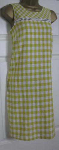 NEW Next Shift Tunic Dress Linen Blend Sleeveless Summer Gingham Yellow 6-22