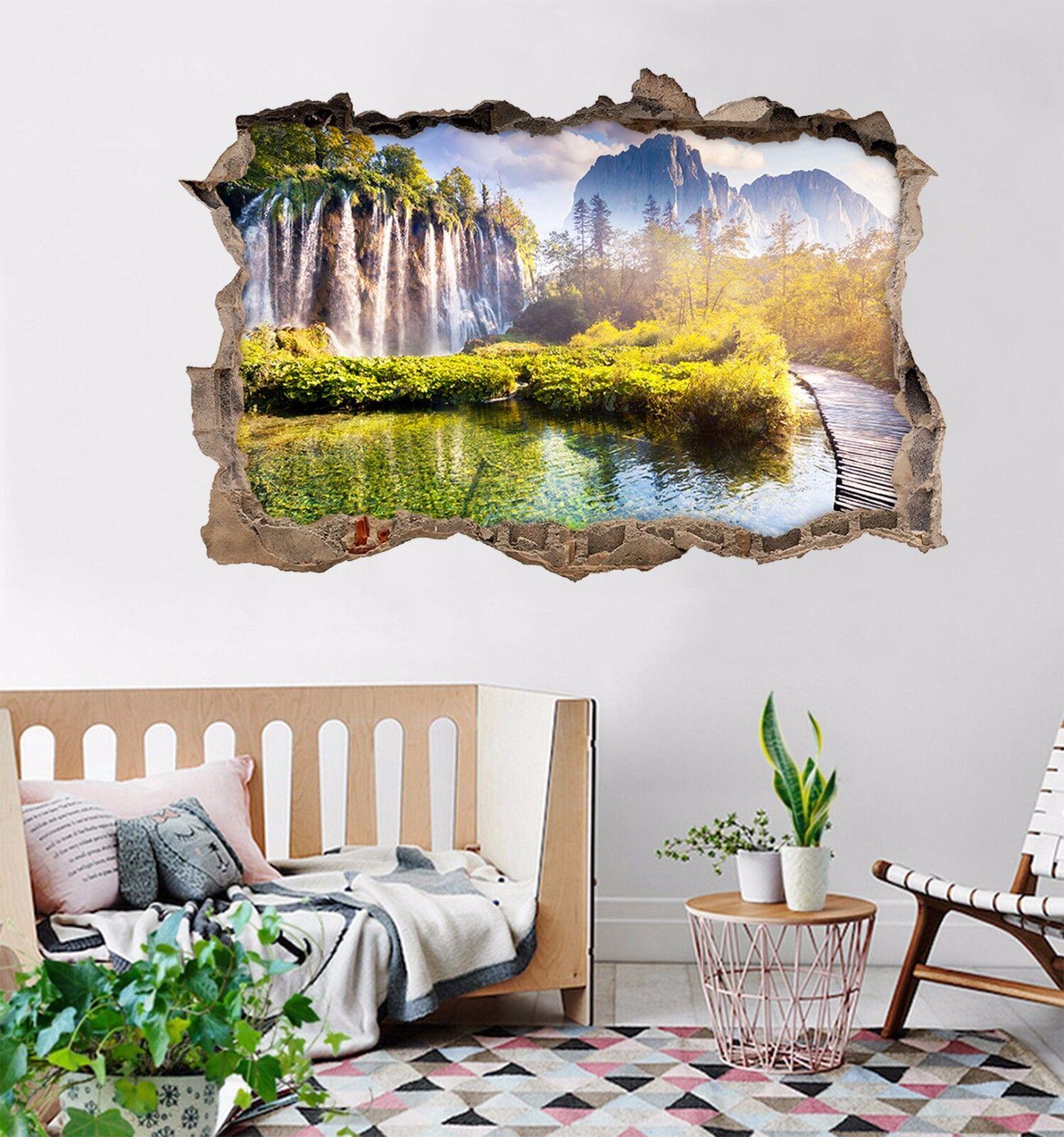 3D Lago Cascata 178 Parete Murales Adesivi Decal Sfondamento AJ WALLPAPER IT