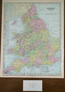 Vintage-1900-ENGLAND-WALES-Map-11-034-x14-034-Old-Antique-Original-CARDIFF-LONDON