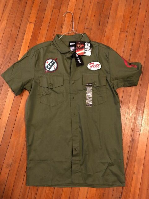 Star Wars Boba Fett Woven Button Up Work Shirt Olive Green Size X