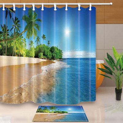 Palm tree and tropical beach Shower Curtain Bathroom Fabric /& 12hooks 71*71inch