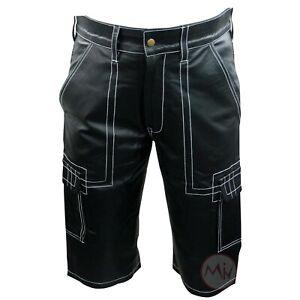 Men-Genuine-Leather-Shorts-Black-Soft-Designer-Casual-Gym-Cycling-Sports-Shorts