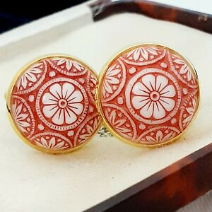 Vintage-Preciosa-Red-White-Mosaic-Glass-Large-Round-Goldtone-Cufflinks