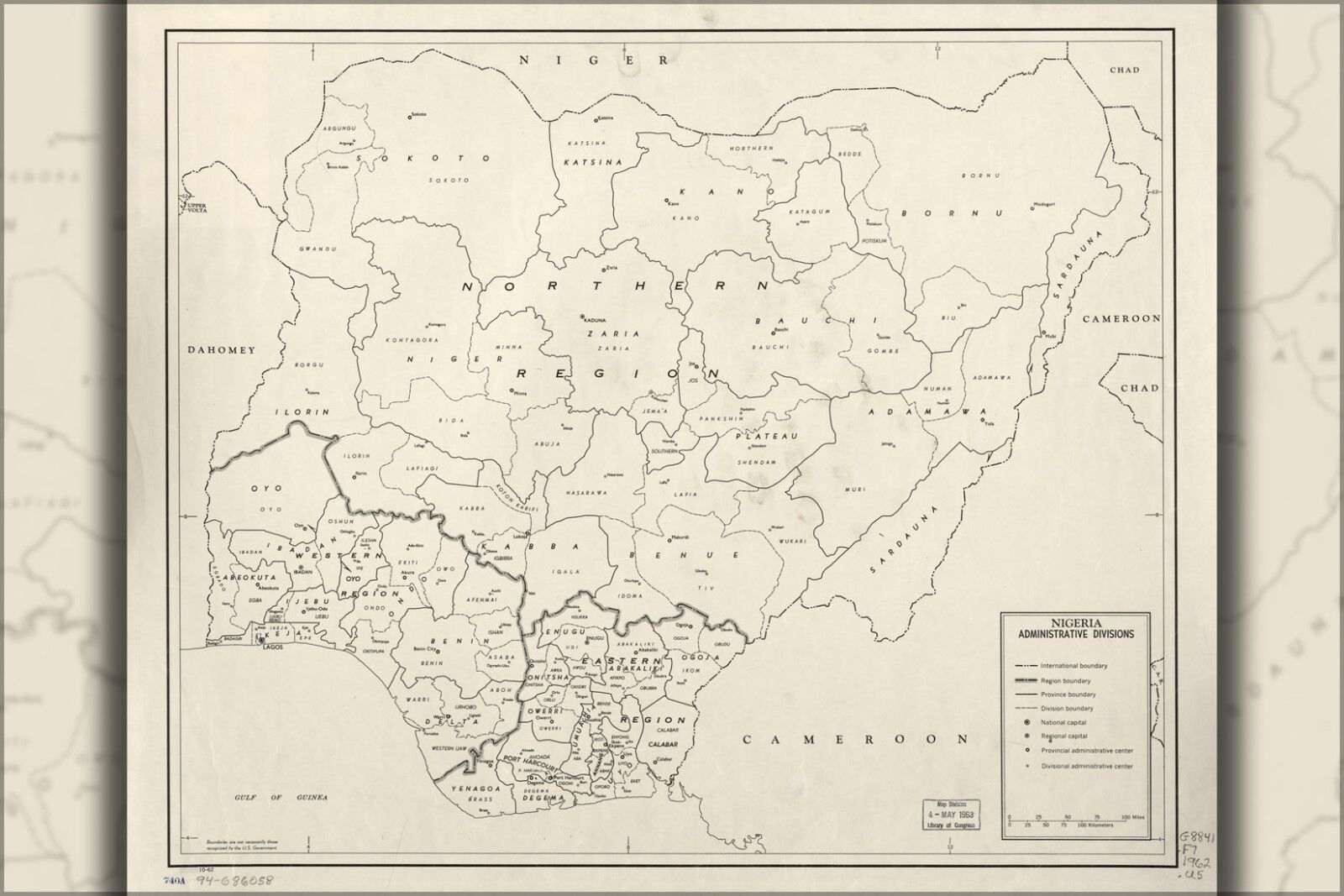 Poster, Many Größes; Cia Map Of Nigeria, Admin Divisions 1962