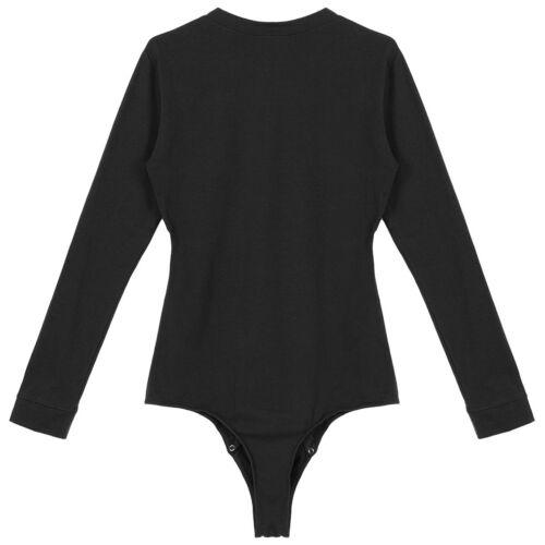 Mens Long Sleeves Lingerie Bodysuit Pressed Crotch Leotard  Romper T-shirt Top