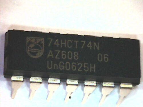 10x IC 74HCT74N 74HCT74 Dual D-Type Flip-Flop w Set and Reset DIP-14