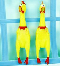 Yellow Screaming Rubber Chicken Pet Dog Toy Squeak Squeaker Chew Gift 1 Size