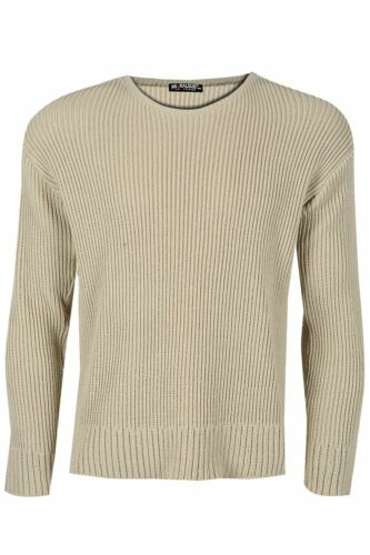 Mens Branded Long Sleeve Crew Neck Ribbed Chunky Knitted Pullover Sweater Jumper