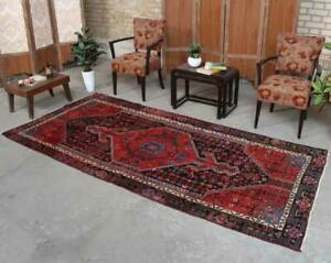 4x9 Hand Knotted Distressed Vintage Geometric Wool Red Black Area Rug Ebay