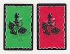 2 SINGLE VINTAGE SWAP PLAYING CARDS ID LADY & FLOWERS 'ENSEMBLE' SILHOUETTE