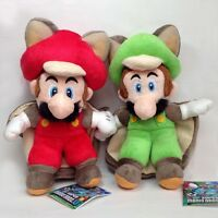 """2X New Super Mario Bros U Flying Squirrel Mario Luigi Soft Plush Toy Figure 9"""""""