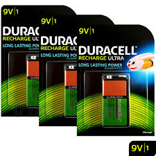3 x Duracell Rechargeable 9V batteries 170 mAh Block Transistor 6HR61 DC1604 PP3