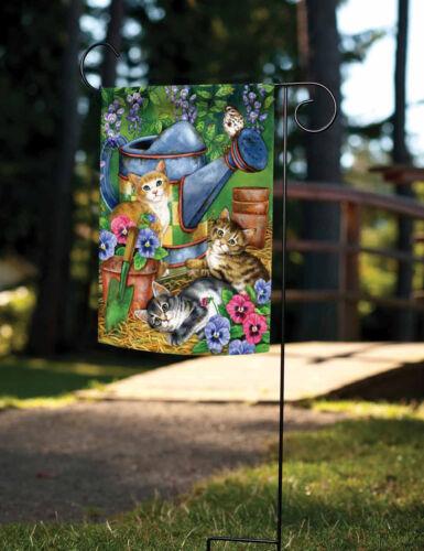 Toland Garden Kitties 12.5 x 18 Colorful Flower Cat Spring Summer Garden Flag