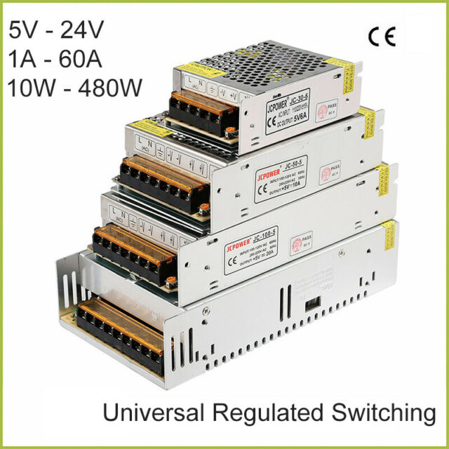 DC 5V-24V Universal Regulated Switching Power Supply 1A-60A 10W-480W LED 3D PSU