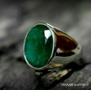 925-Sterling-Silver-Natural-Colombian-Emerald-Oval-Shape-Gemstone-Handmade-Ring