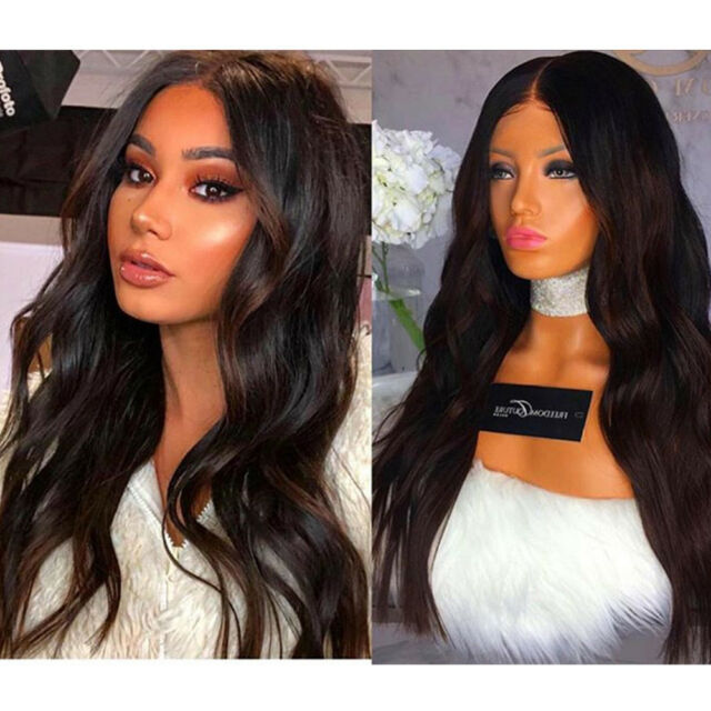 Synthetic Lace Front Wig Long Black Wavy Hair Hand Tied Wigs for Fashion  Women a3efcb3e8