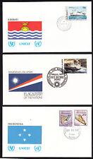 17919/ UNO Flaggen der Nationen - 3 Umschläge - Mikroniesien, Kiribati, Marshall