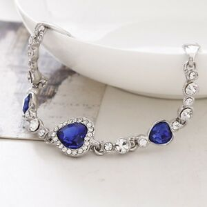 2019-New-Fashion-Women-Ocean-Blue-Crystal-Rhinestone-Heart-Bangle-Bracelet
