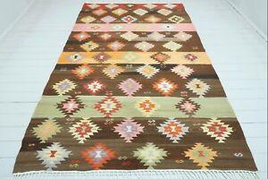 """Anatolia Barak Nomad Kilim, Oriental Rug, Floor Rug, Large Rugs 68""""x115"""" Carpet"""