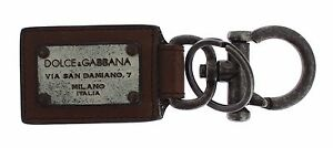 NWT $200 DOLCE & GABBANA Gray Brass Brown Leather Branded Finder Chain Keyring