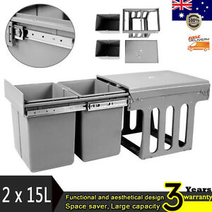 Twin-Pull-Out-Bin-Kitchen-Slide-Double-Dual-Garbage-Rubbish-Waste-Basket-2X15L
