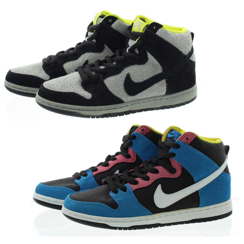 Nike 305050 uomini 'schiacciare alto sb camoscio bianco e nero di pelle con lo skateboard scarpe da ginnastica 017, blu e nero 410