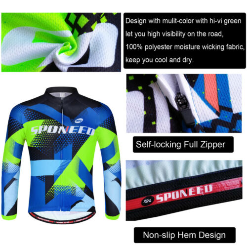 Bicycle Jerseys Mens Anti-UV Bike Shirt Long Sleeve Cycle Clothes Breathable