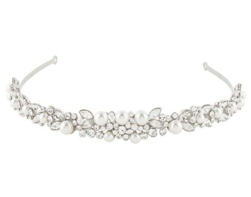 With Tiara Box Bridal Wedding Tiara Austrian Crystal White Pearls