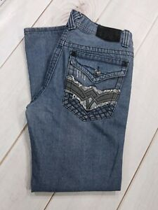 Men-039-s-Extreme-Couture-Black-Flap-Pocket-Cotton-Jeans-Size-32-x-30-Inseam-28-034