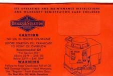 Vintage Briggs Stratton Rotary Mower Parts List Engine Manual 60900 81996 C1960