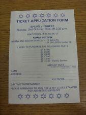 02/10/1983 Tottenham Hotspur v Nottingham Forest - Ticket Application Form, Unus