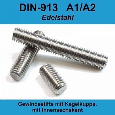 Gewindestifte M3x30 mit Innensechskant und Kegelkuppe 50 St/ück Madenschrauben ISO 4026 A2 Edelstahl