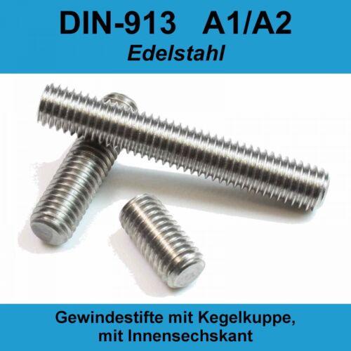 M3 DIN913 A2 Edelstahl Gewindestifte Kegelkuppe Innensechskant Madenschraube M3x