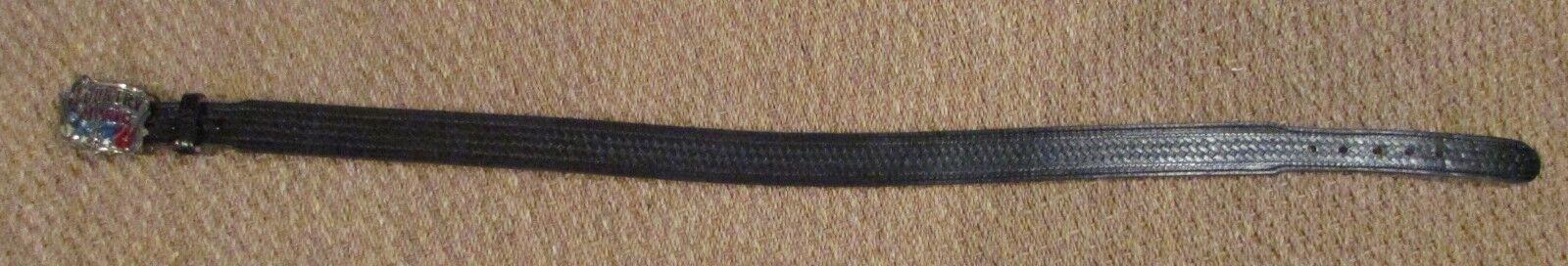 Handgefertigt Schwarzer Ledergürtel Größe 38 mit Großer Land Musik Gürtel Buckle