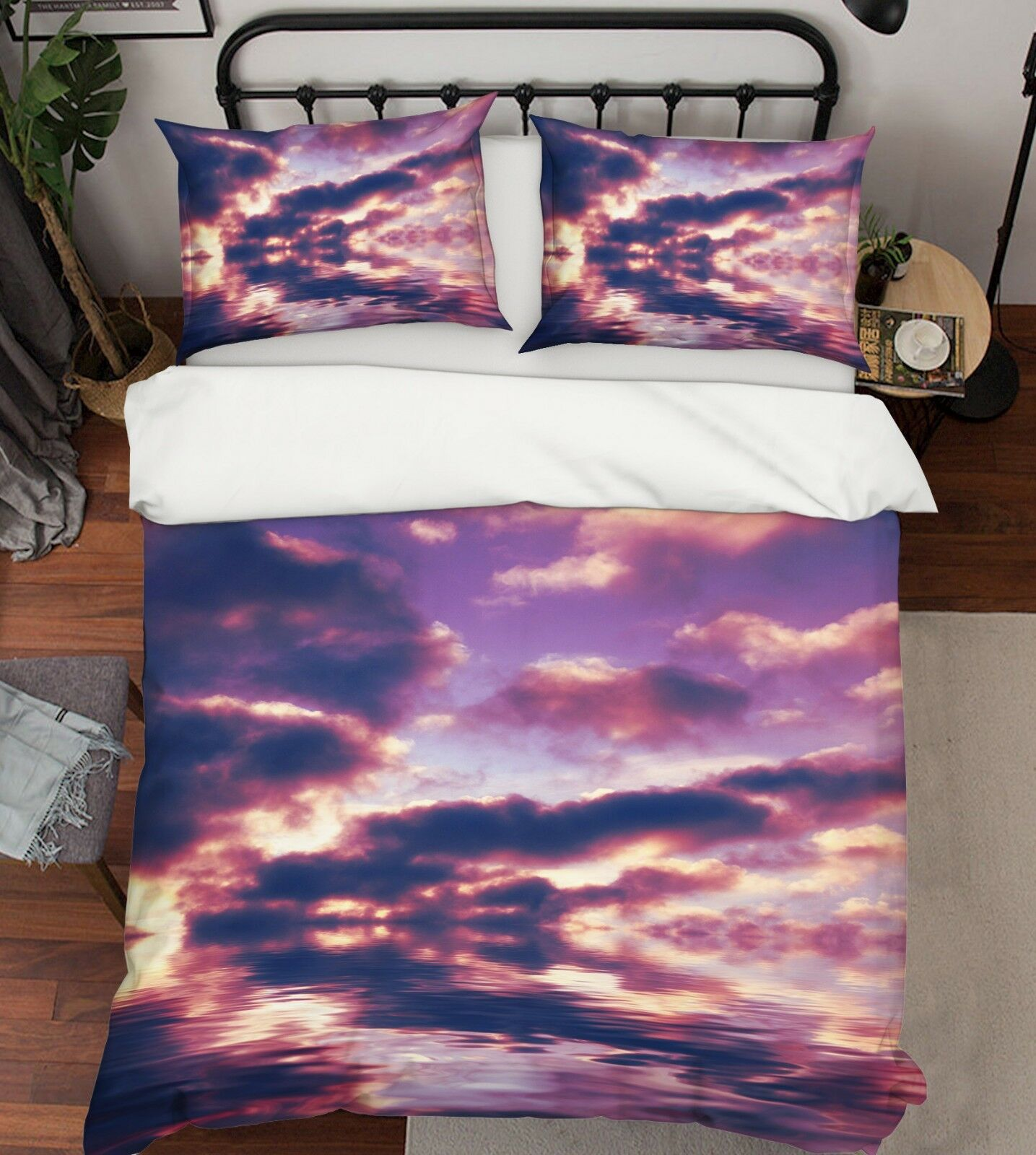 3D Purple Clouds Ocean 1 Bed Pillowcases Quilt Duvet Cover Set Single Queen King