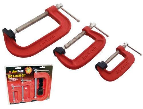 """Heavy duty g-clamp set 2 /"""" 3/"""" /& 4 /""""c w soft mâchoire pads 50mm 75mm 100mm g pinces"""