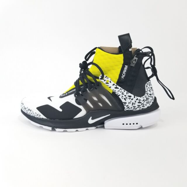half off 11412 5d571 Nike x Acronym Air Presto Mid Dynamic Yellow Black White Sz 6 ( AH7832-100